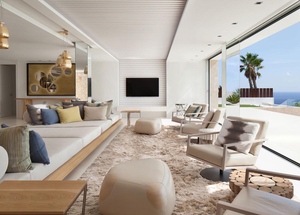 Fluffy rug, large sofa