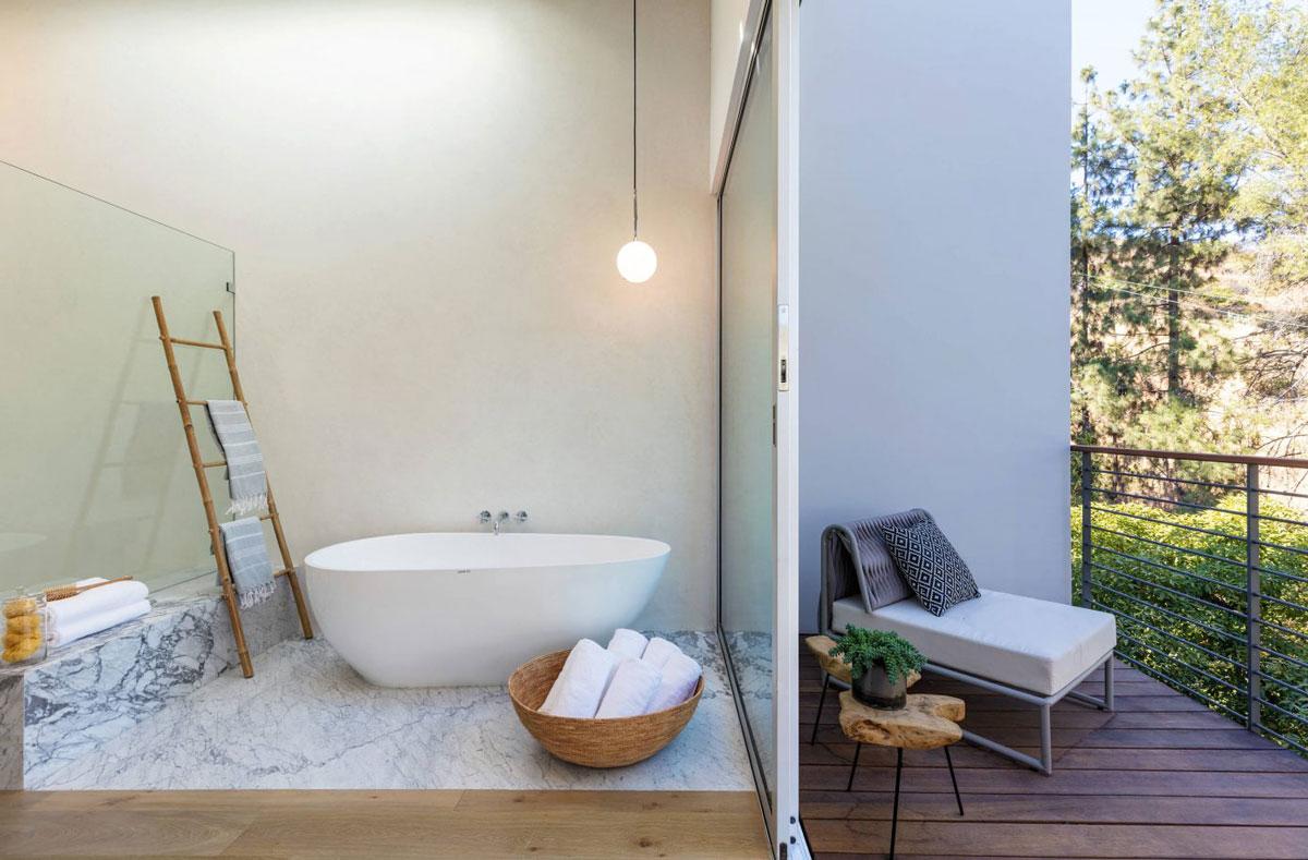 Bathroom, glass shower, white bath