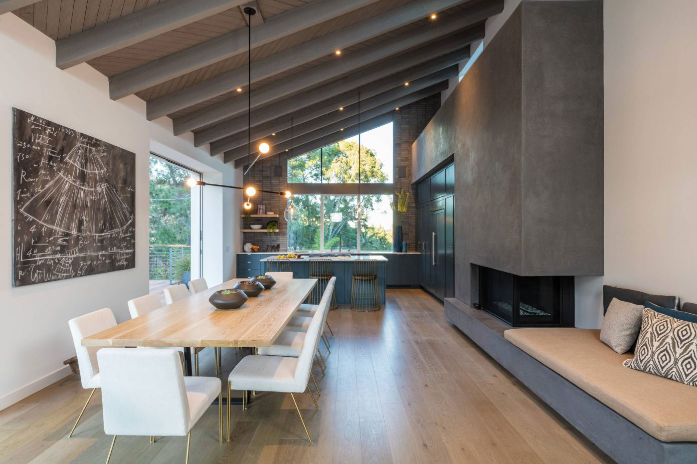 Dining space, fireplace, kitchen