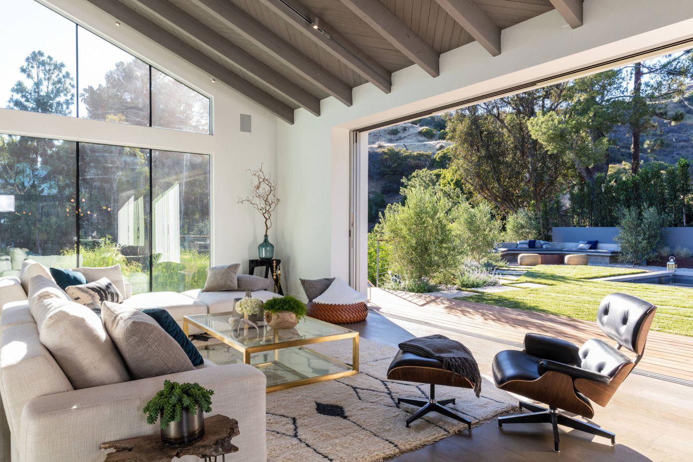 Glass sliding doors, living room