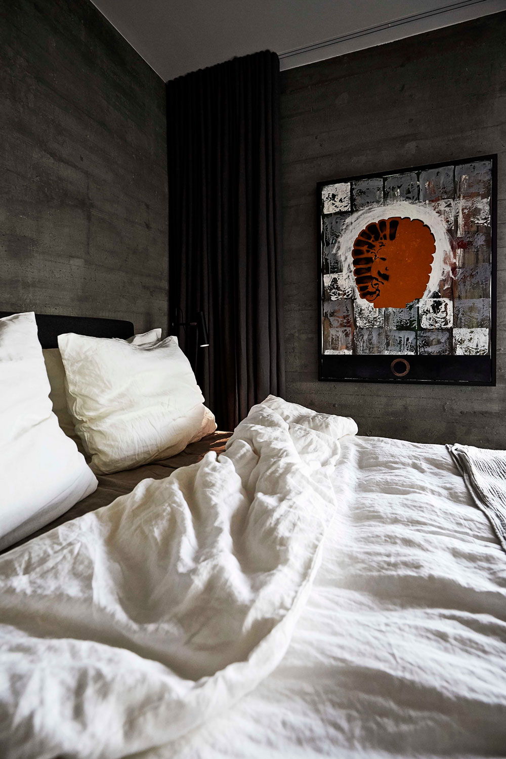 Art, grey bedroom