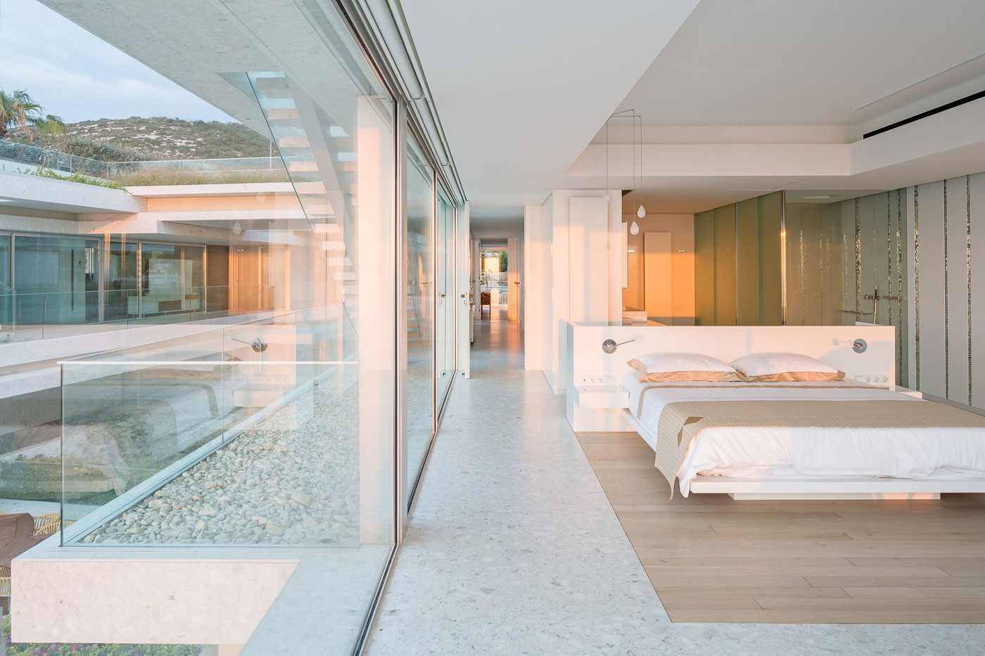 Bedroom, glass walls
