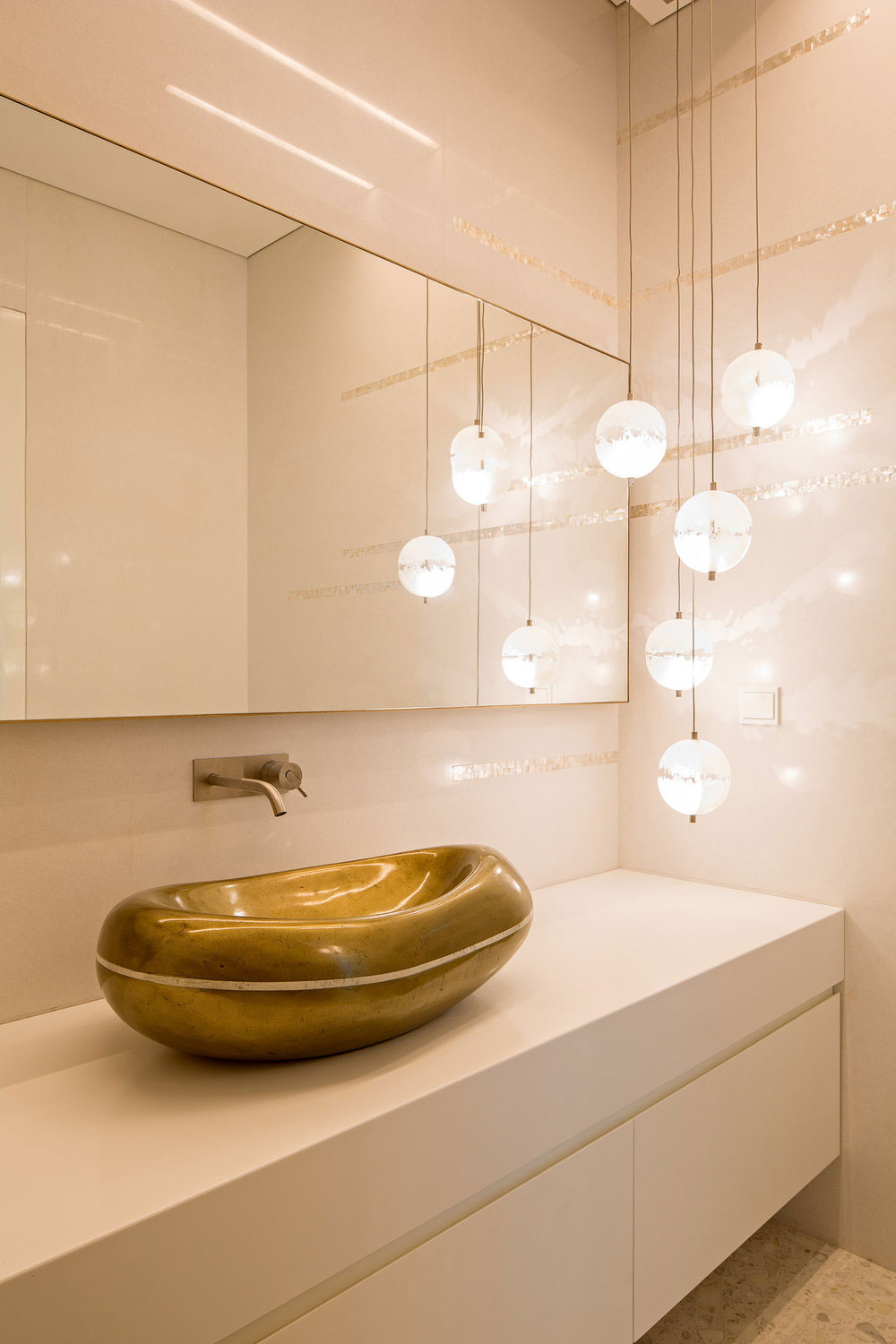 Gold sink, pendant lighting