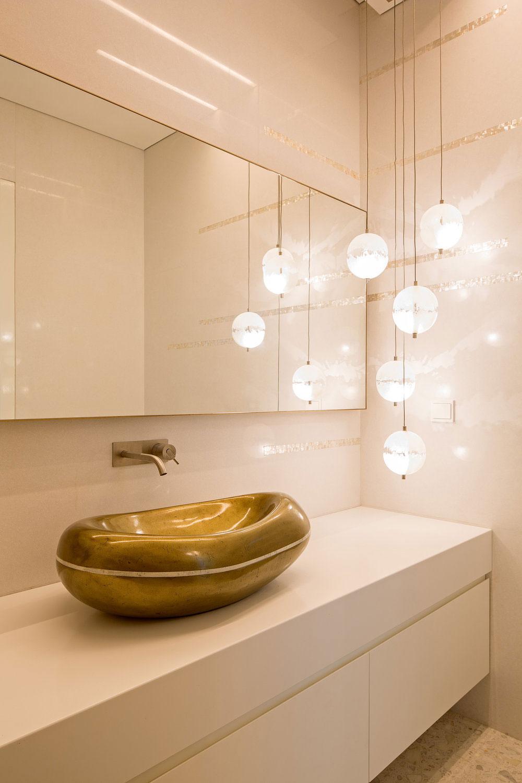 Gold sink, pendant lighting