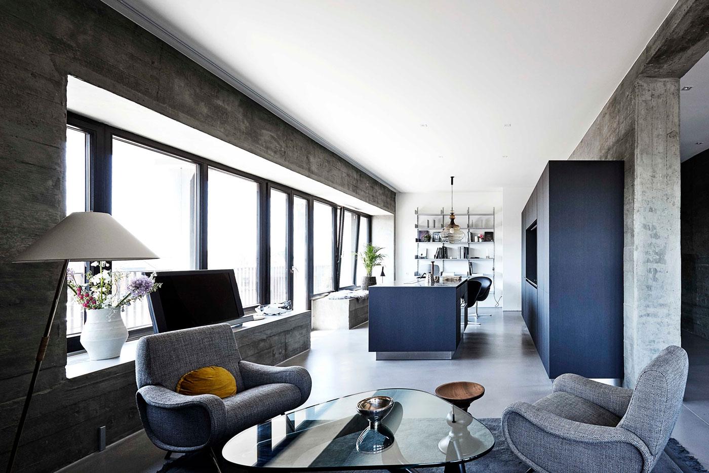 Blue kitchen island, glass coffee table