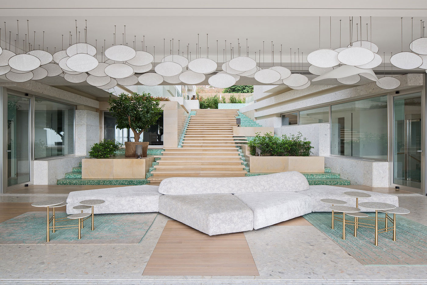 Large sofa, unique lighting