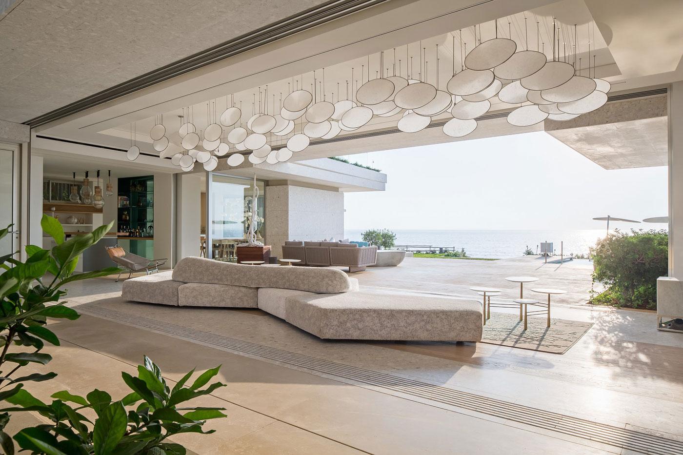 Open plan living space, sea views