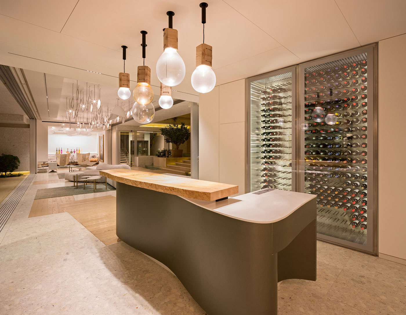 Wine fridge, bar, living space