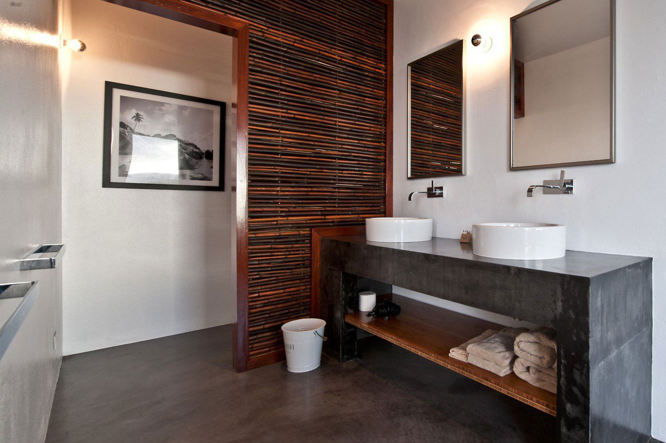 Bamboo wall, bathroom