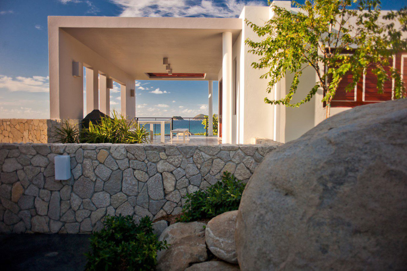 Natural stone wall, terrace sea views