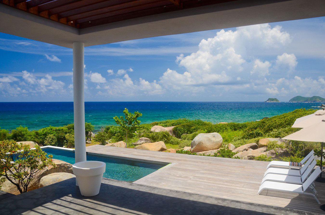 Wood deck, pool with sea views