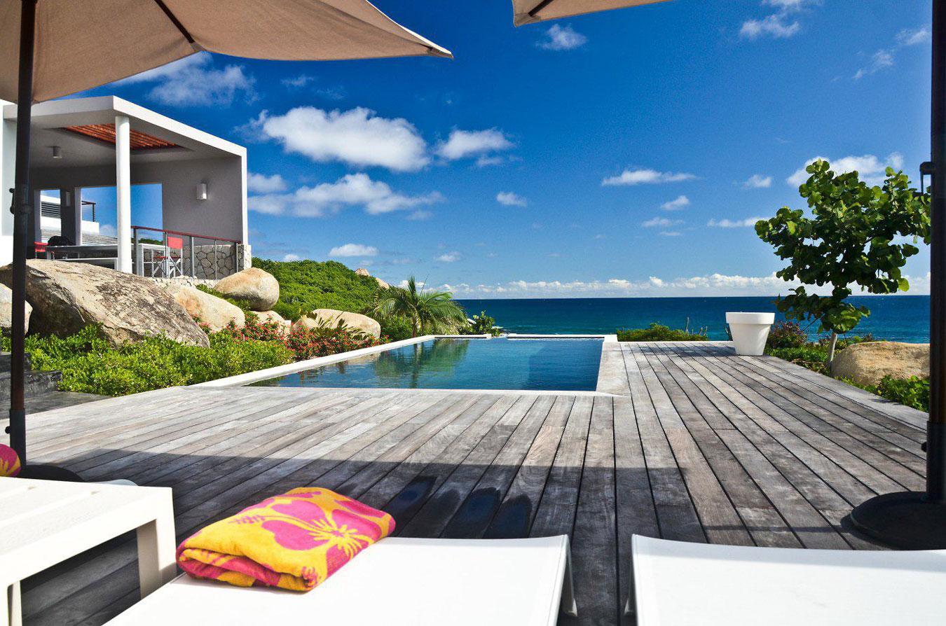 Wooden terrace, swimming pool
